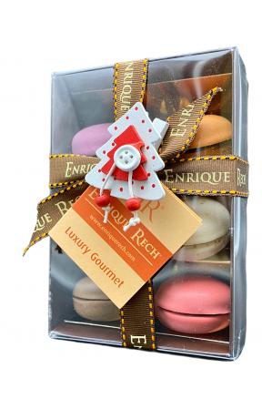 Macaronias Gourmet 6U caja con lazo árbol de Navidad