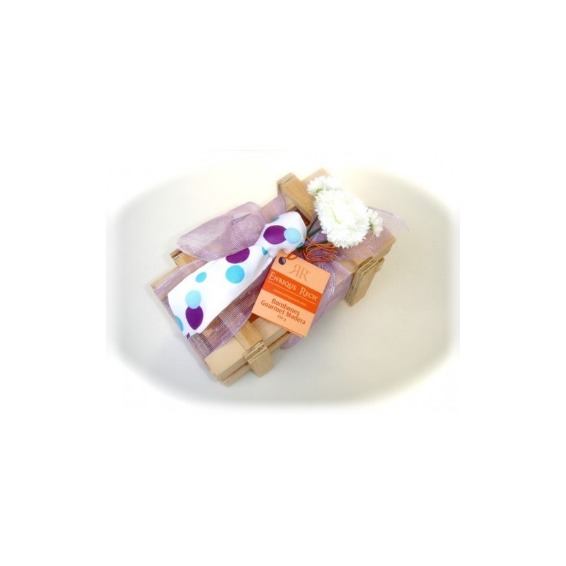 Bombones Gourmet Papi's Edition Caja Madera 250g caja con corbata  blanca con lunares