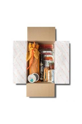 Pack Ibéricos Gourmet Día de la Madre en color naranja envasado